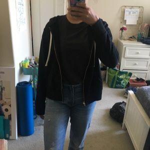 Black zip up sweatshirt gold detailing